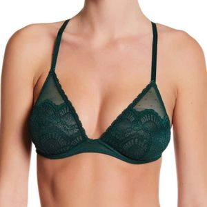 Free People emerald green lace bra